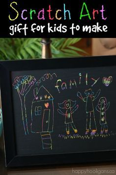 "A colourful scratch art ""family portrait"" for kids to make  and give.  This classic art techniques STILL fascinates and captivates me.  Colour your page cover it with paint, and then scratch your art! Happy Hooligans"