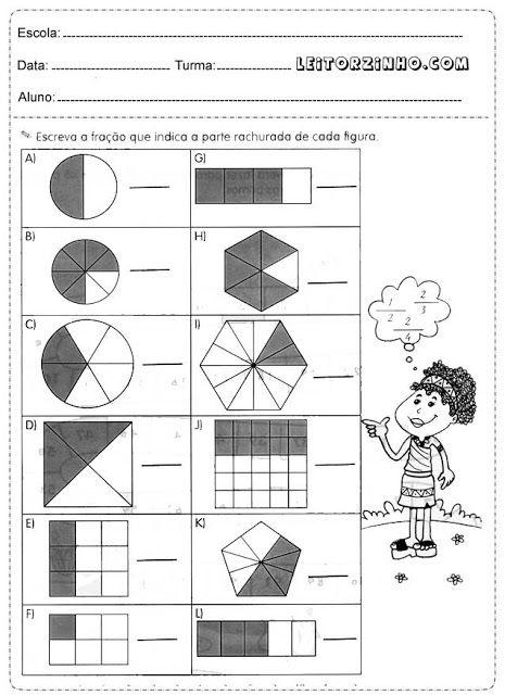 Escreva a fração que indica a parte ranhurada de cada figura