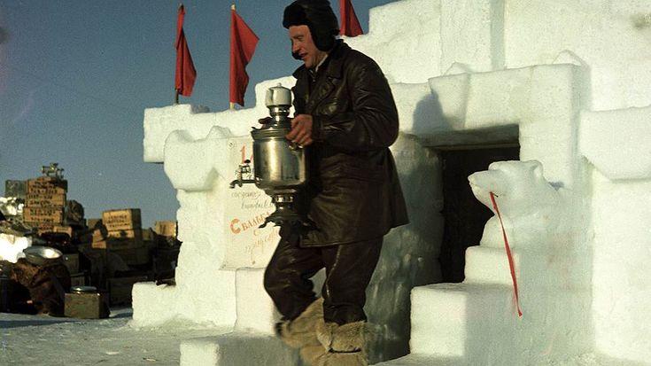 """Повар дрейфующей станции """"Северный полюс - 3"""" И.М. Шариков хлопочет по хозяйству. Яков Рюмкин, 1954 год"""