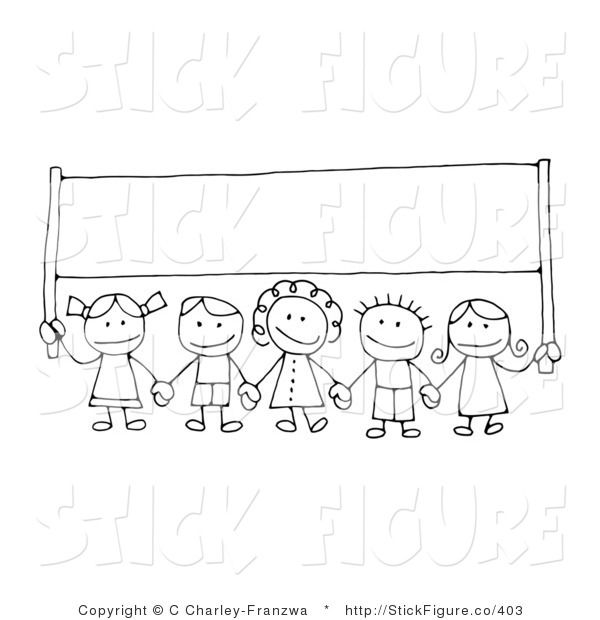 Clip Art of a Group of Happy Stick Figure Children Holding Hands and Carrying a Blank Banner