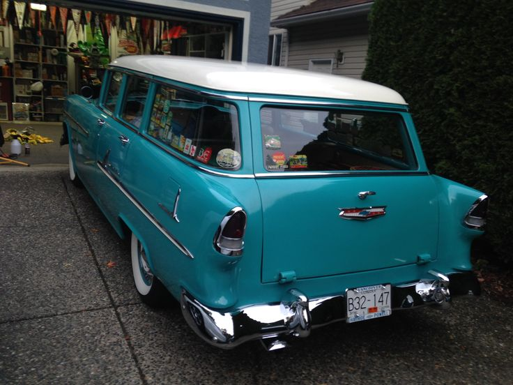 Freshly polished ready for winter storage. 1955 Chevrolet wagon.