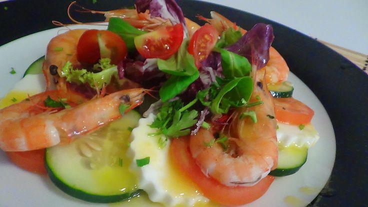 dicas e truques na cozinha : salada de camarão e queijo freso com vinagrete
