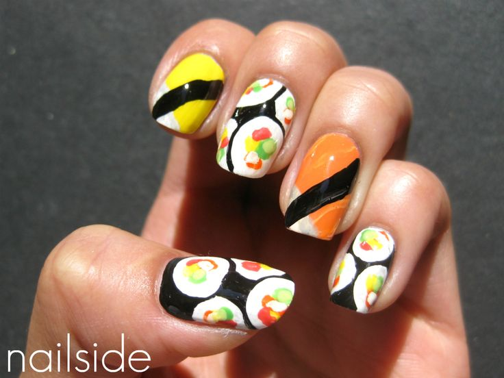 sushi nail polish design