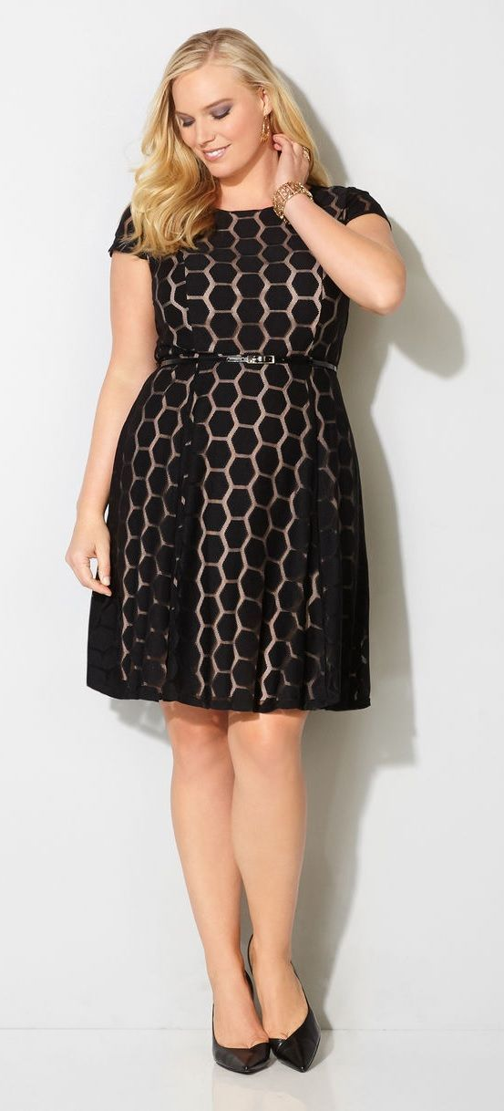 Plus Size Hexagon Lace Dress