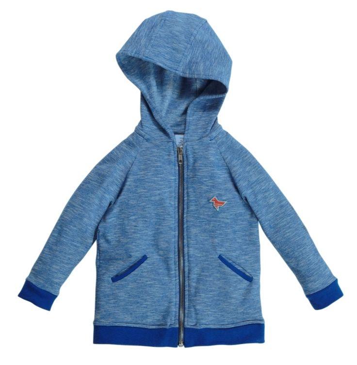Dis une couleur - blauwe trui met capuchon en rits   Truien - sweaters   Calomel
