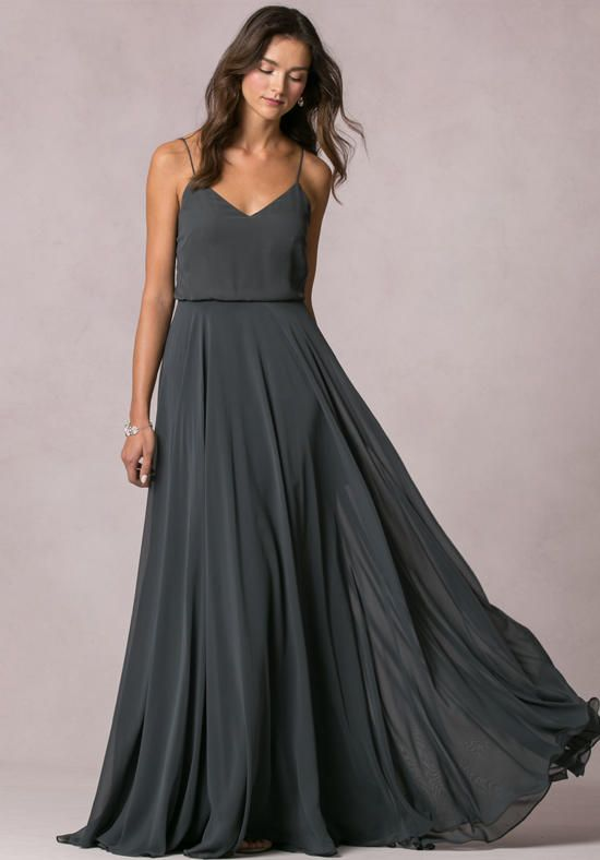 The Inesse features a thin spaghetti straps with a v-neckline that accentuates the collar bone and elongates the neckline | Jenny Yoo Collection | https://www.theknot.com/fashion/inesse-jenny-yoo-collection-maids-bridesmaid-dress