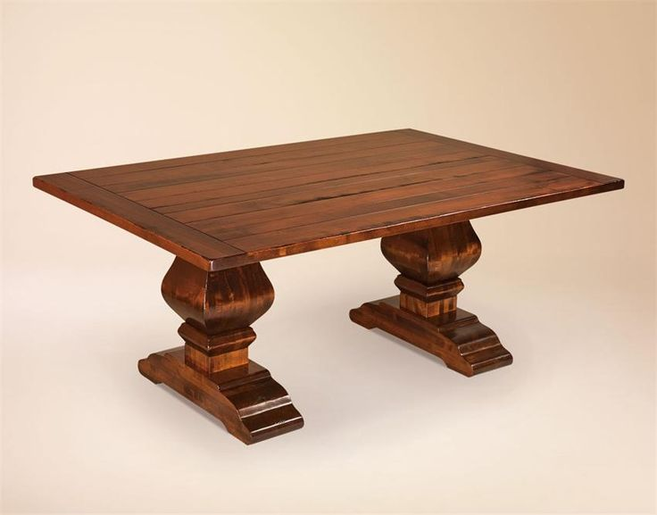Amish wilmington plank trestle table with breadboard ends for Pedestal trestle dining table plans