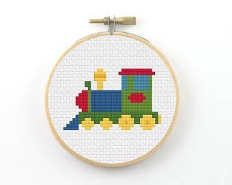 Toy locomotive cross stitch pdf pattern