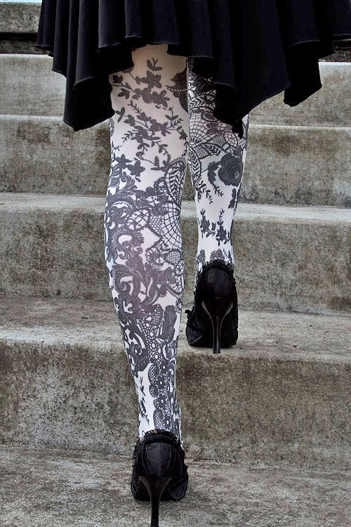 French Affair Opaque Printed Tights In 2018 Im A Goth In Case