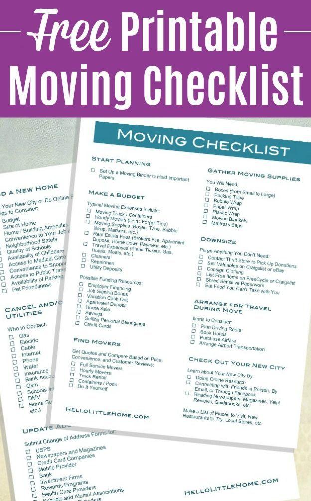 How To Plan A Big Move Free Printable Moving Checklist Moving Checklist Moving Printables Moving Checklist Printable