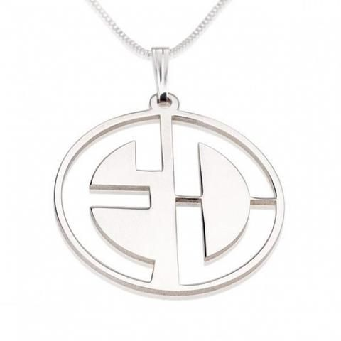 Personalized Sterling Silver Capital Letters Cut Out Monogram Necklace