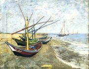 Fishing Boats On The Beach At Saintes Maries  by Vincent Van Gogh