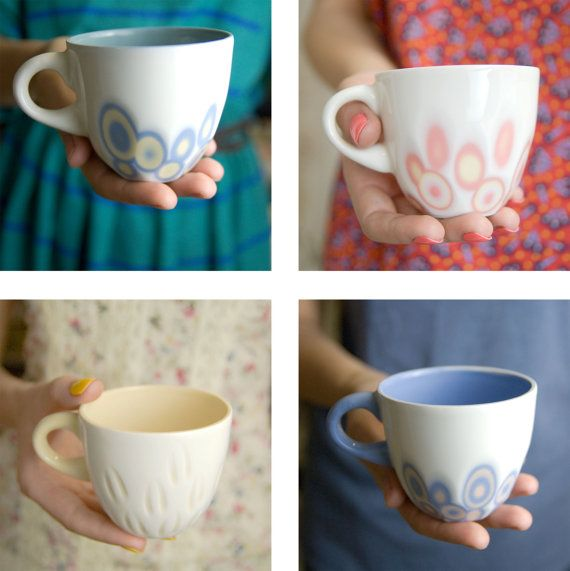 Porcelain cup coffee tea unique handmade serving by imkadesign