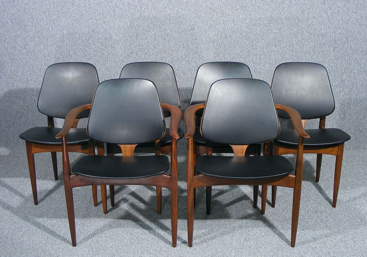 A wonderful stylish set of 6 Danish teak vintage retro kitchen dining chairs by Danish designer Arne Hovmand Olsen Available @ http://www.antiques-online.org/listing.php?id=640
