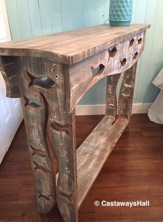 Wood School of Fish Sofa Table Hall Side Console Table