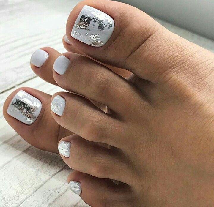 White Silver Nailart Toe Summer Toe Nails Cute Toe Nails Toe Nail Color