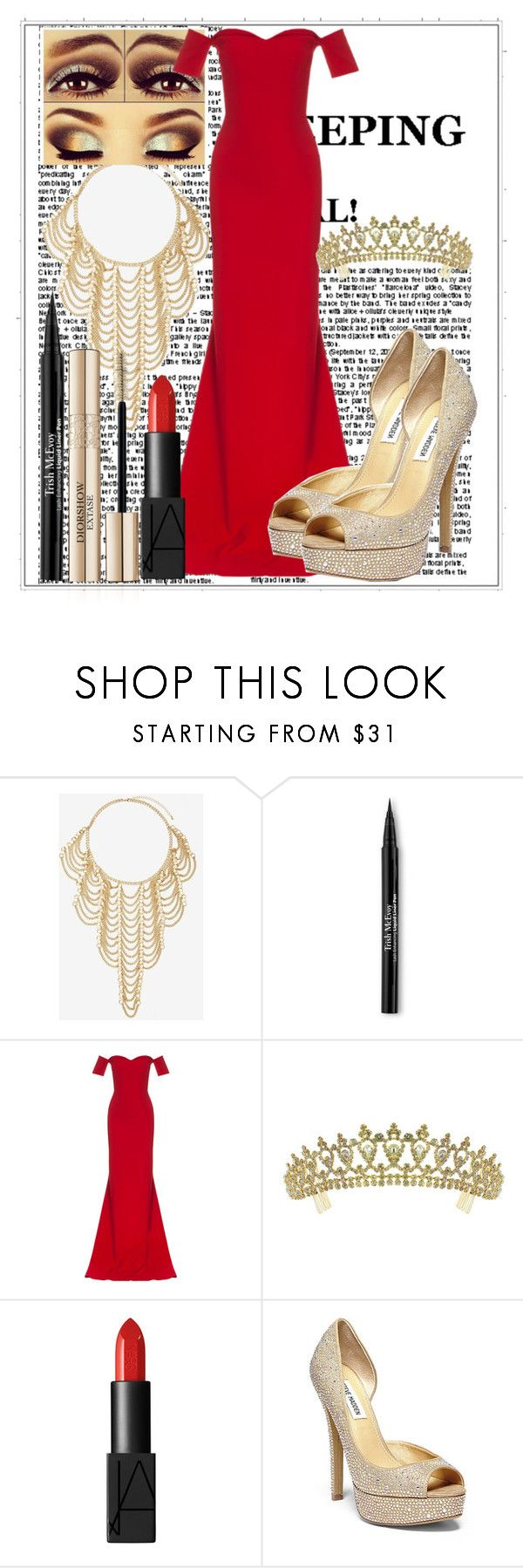 """""""Untitled #70"""" by mariaclair ❤ liked on Polyvore featuring Trish McEvoy, Safiyaa, Kate Marie, NARS Cosmetics and Steve Madden"""