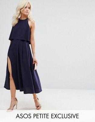 Платье миди с кроп-топом и высоким разрезом ASOS PETITE