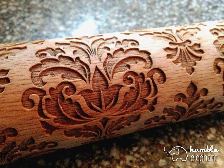 Damask Pattern Laser Cut Wooden Embossing Rolling Pin by HumbleElephant on Etsy https://www.etsy.com/listing/198989504/damask-pattern-laser-cut-wooden