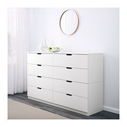IKEA - NORDLI, 8-drawer dresser, , Of course your home should be a safe place for the entire family. That's why a safety fitting is included so that you can attach the chest of drawers to the wall.You can use one modular chest of drawers or combine several to get a storage solution that perfectly suits your space.You can easily create your own personal design by mixing chests of different colors.Integrated damper catches the running drawer and closes it slowly, silently and softly.The…