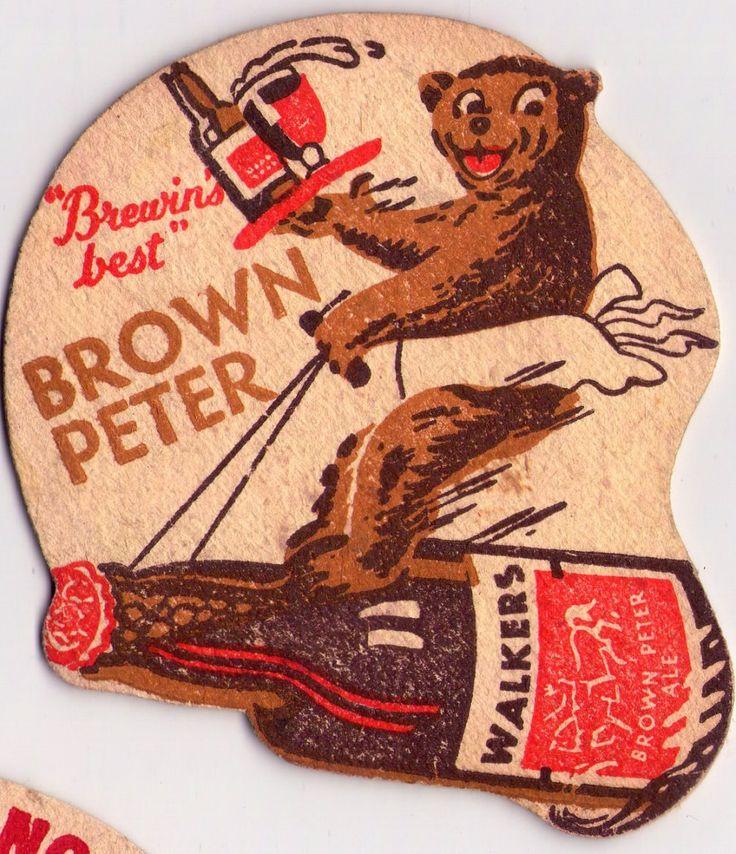 British beer, beermats Walkers Beer, Warrington 'Brown Peter beer.  Not sure how old this one is, but it's before Walkers became  Tetley Walker (1960)