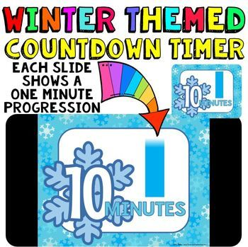 Classroom Timer: This is a fun countdown timer that has a snowflake theme for your winter activities. Use it any time during the winter season. Countdown timers can be helpful for activities such as: timed math tests, game time, center rotations, working with a partner, turn and talk times, sustained silent reading, brainstorming time, and more. Find my other