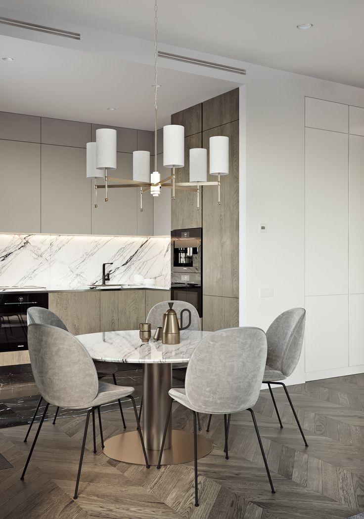 Marmor-Backsplash-Inspiration im Kontext von Designer-Häusern