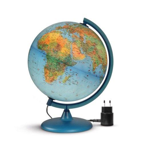 Ce globe lumineux donne aux enfants de nombreuses informations géographiques : les pays et leur capitale, les océans, les animaux et les monuments les plus significatifs de chaque région du monde. Grâce au livret fourni avec le globe, l'enfant en apprend plus sur chacune des illustrations du globe. Cet outil pédagogique est aussi un bel objet.