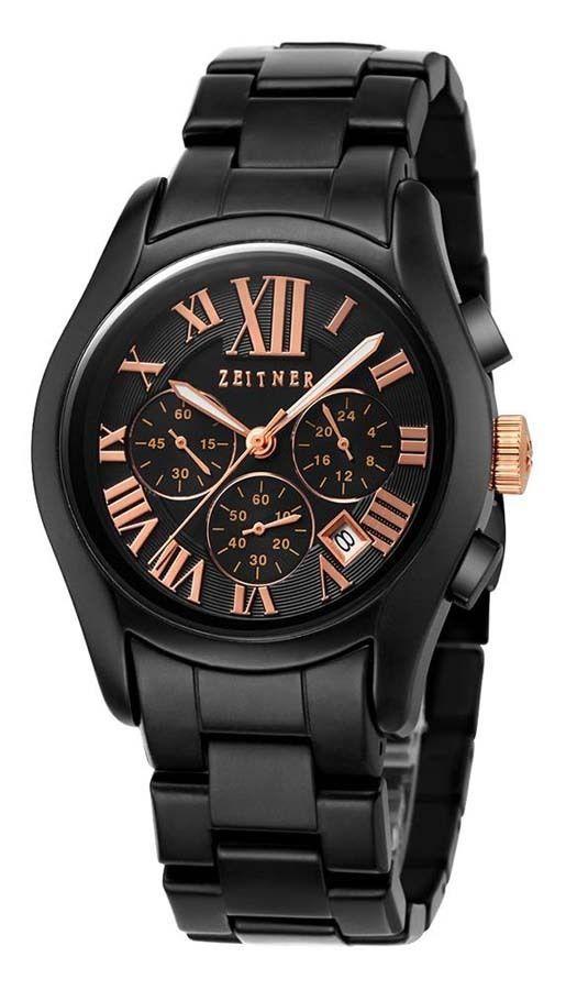 #Zeitner #Mens #Quartz Chronograph Wrist Watch #Ceramic Bracelet Entourage #Rose #Gold