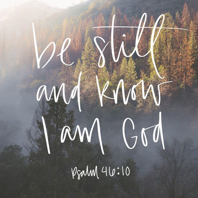 "10 ""Be still, and know that I am God. I will be exalted among the nations, I will be exalted in the earth!"" (‭Psalms‬ ‭46‬:‭10‬ ESV)"