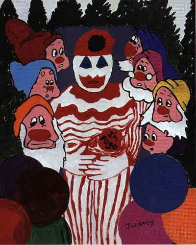 Oh, what's this? More creepy clown art? By John Wayne Gacy, the creepiest clown of them all? This is too much. Moving on.