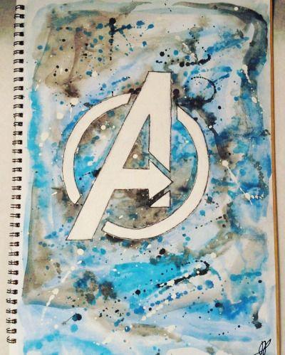 All of us need a superhero!! #water #paint #painting #waterpanting #color #colour #watercolor #watercolour #watercoloring #logo #marvel #avengers #theavengers #abstract #myart #comics #superhero #movies