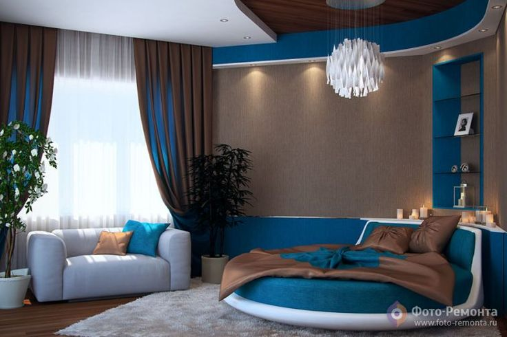 Синие спальни - дизайн интерьера