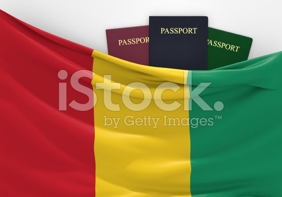 Travel and tourism in Guinea, with assorted passports royalty-free stock photo