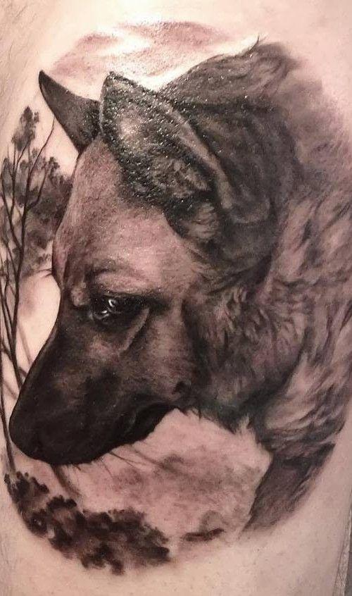 Black wolf tattoo design