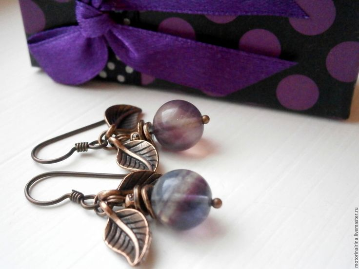 """Купить """"Snitch"""" -серьги из флюорита. - фиолетовый, серьги, сережки, серьги ручной работы, серьги с камнями"""