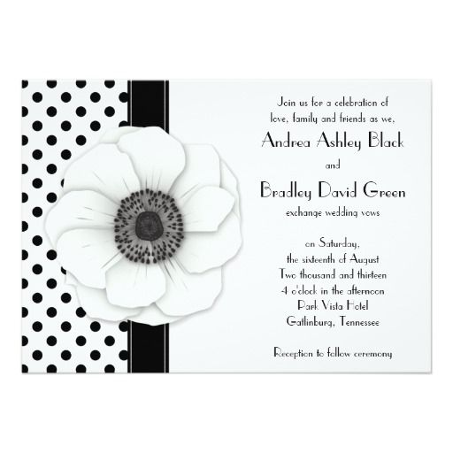 225 best Polka Dot Wedding Invitations images – Black and White Invitation Cards