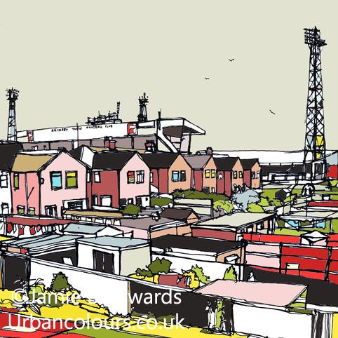 Blundell Park - Grimsby Town FC Signed Limited Edition Print. Internal Image Dimensions - 12.5cm x 12.5cm External Mounted Print Dimensions - 30cm x 30cm Moun More