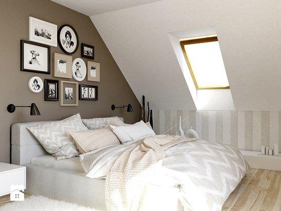 Kawa z mlekiem. - Średnia sypialnia małżeńska na poddaszu - zdjęcie od The Origin - Interior Design