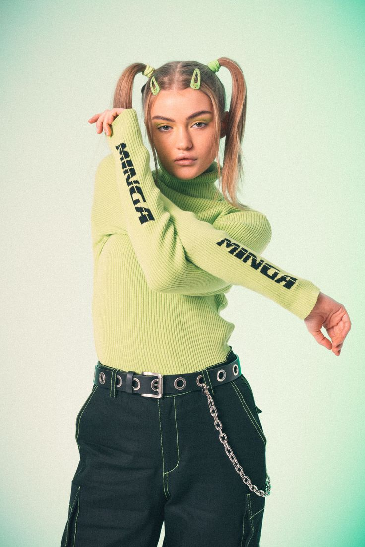 Lime green ribbed top