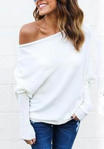 f022baa546a72 White Plain Round Neck Long Sleeve Pullover Sweater | Tops | Off ...