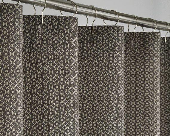 Long Brown Linen Shower Curtain  72 x 78 LONG