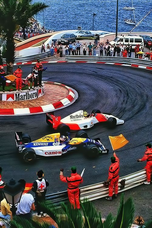 Ayrton Senna (#1) - McLaren MP4/7A (Honda) and Nigel Mansell (#5) Williams FW14B (Renault) - 1992 - Monaco