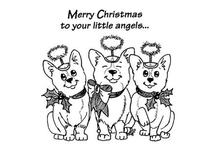 The Corgi's are in the Christmas Spirit in the Funny Bones Christmas Card.  ​ Welsh Corgi Christmas Card by Funny Bones Slightly Silly Greeting Cards. This 5 x 7 card is printed on premium card stock and comes with a white envelope.  Funny Bones Cards are drawn by Pat Rapple and feature over 20 AKC registered breeds.  Will Davis Studios charges a flat rate of $2.00 per order with no limit on the number of items. ​​​​​​​​​​ ​ Funny Bones Cards are drawn by Pat Rapple