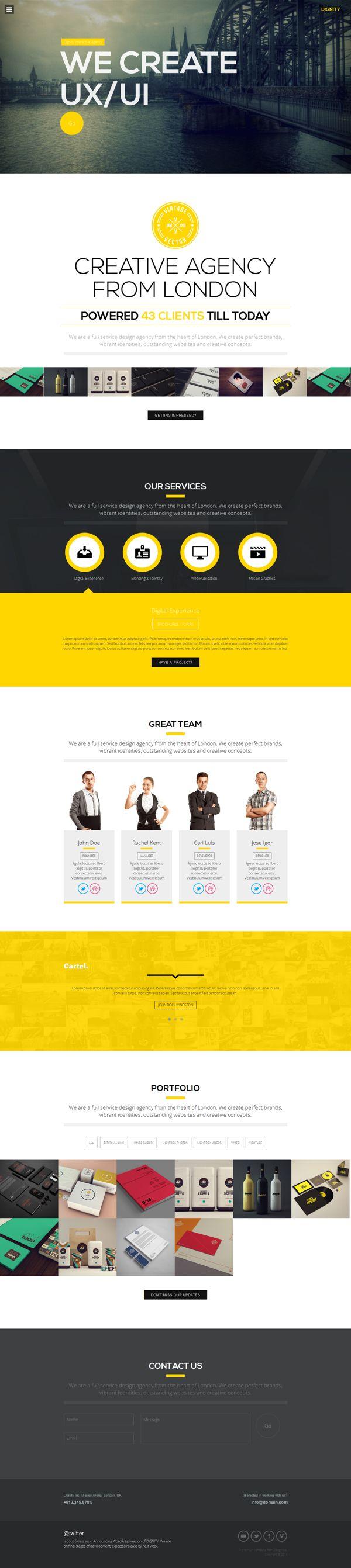 Dignity - One Page Portfolio by WordPress Design Awards , via Behance