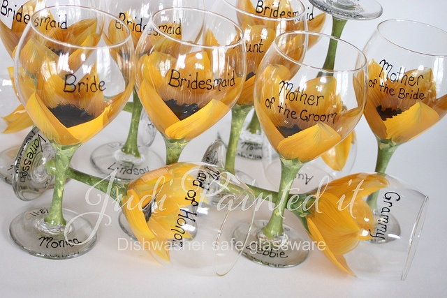 Sunflower Hand painted personalized bridesmaid floral looking inside a flower wine glasses by judipaintedit, via Flickr