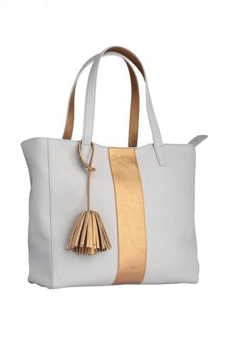 Scandi Tote - Sport - grey  Available in two neutral shades and embellished with a metallic bronze  stripe and trim details. This tote takes a simple silhouette and makes everyday sophistication effortless.