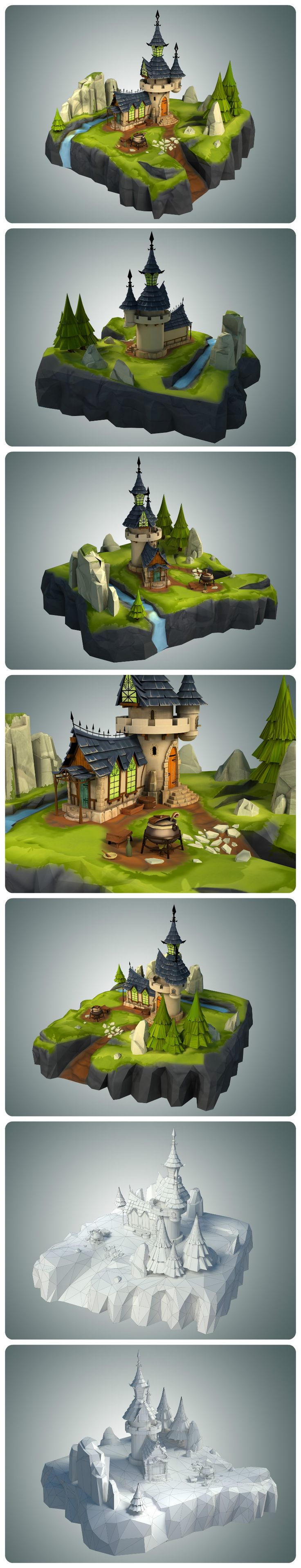 Low Poly Stylized Castle EnvironmentModeled in 3d Studio Max 2014 and Rendered with Vray 3 .Suitable for games, mods or any real time applications. Tested in unity.The 3d model is for sale: - www.cgtrader.com -
