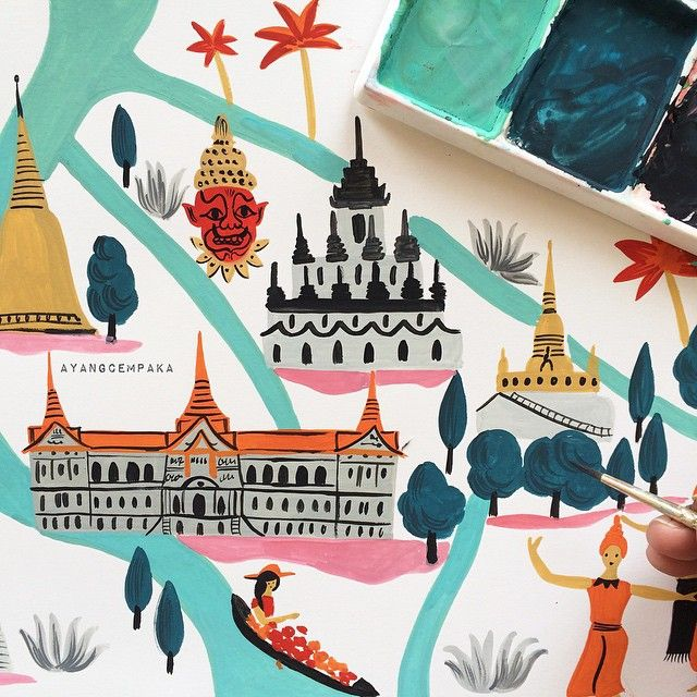 Map of Bangkok by Ayang Cempaka Dubai based illustrator & maker E : hello@ayangcempaka.com http://www.ayangcempaka.com