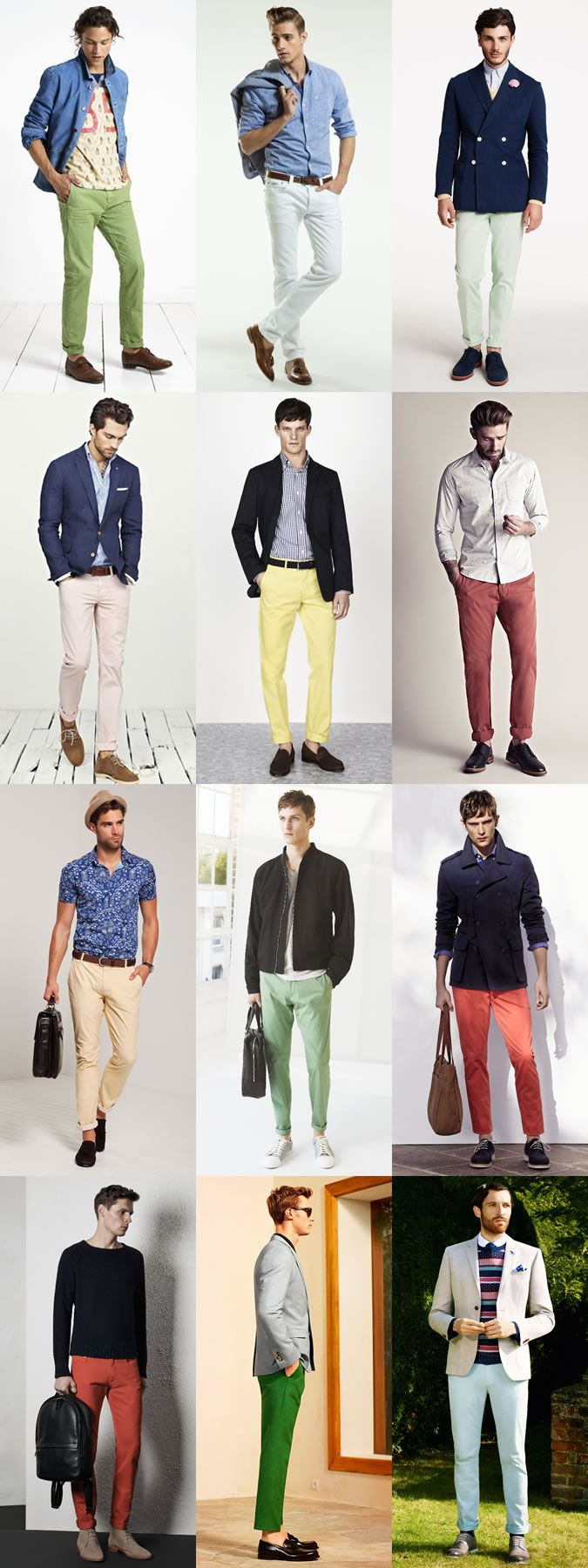 Men's Summer Coloured Chinos and Trousers Outfit Inspiration Lookbook
